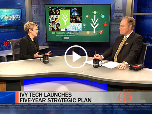 President Sue Ellspermann on Inside INdiana Business with Gerry Dick discussing Ivy Tech's new strategic plan
