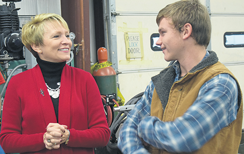 Ivy Tech President, Sue Ellspermann and an Ivy Tech student
